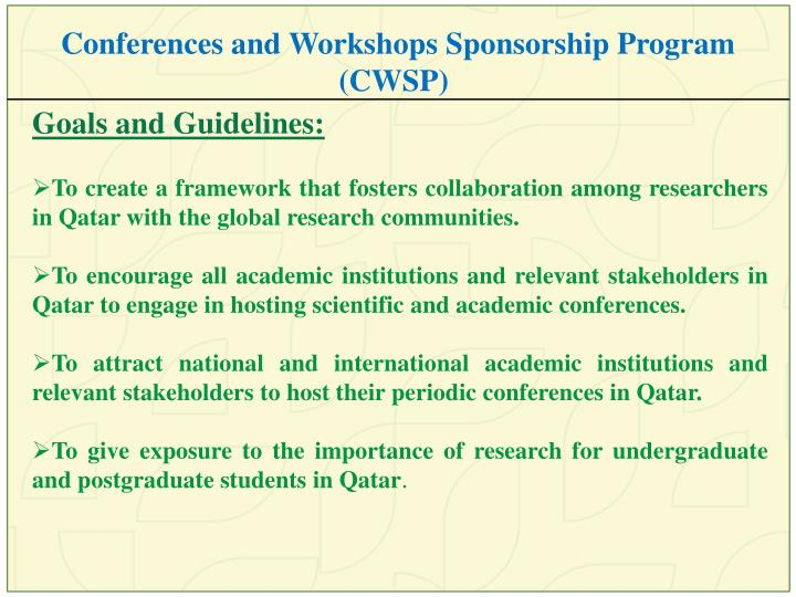 Conferences and Workshops Sponsorship Program