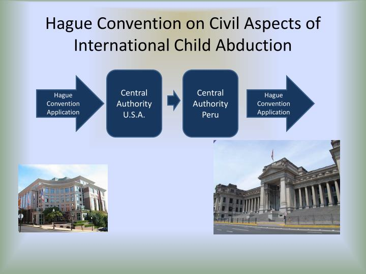 the hague convention What is the hague convention the hague convention on the civil aspects of international child abduction is an international treaty that establishes procedures that provide for the prompt return of.