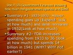 doc f us government finances showing how much the government spends and debt