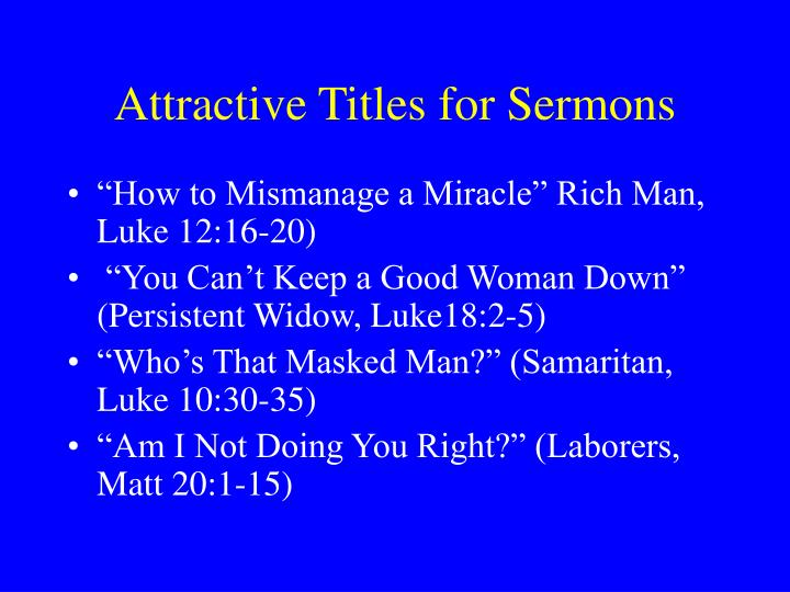 Attractive Titles for Sermons