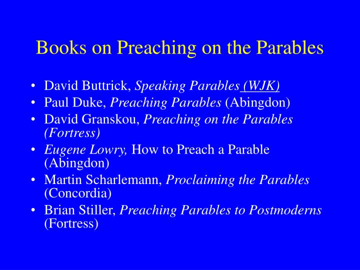 Books on Preaching on the Parables