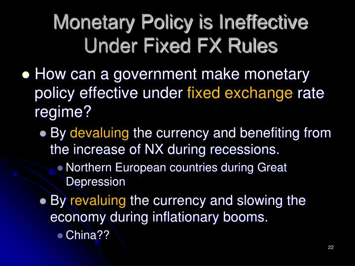 Monetary Policy is Ineffective Under Fixed FX Rules