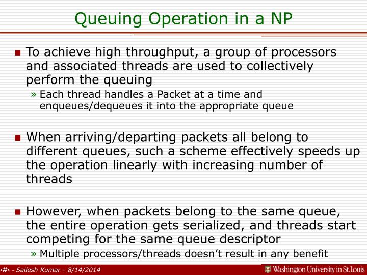Queuing Operation in a NP