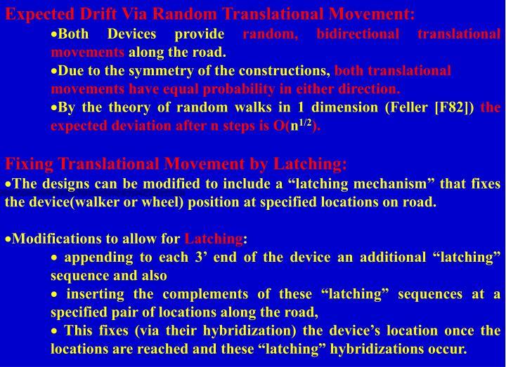 Expected Drift Via Random Translational Movement: