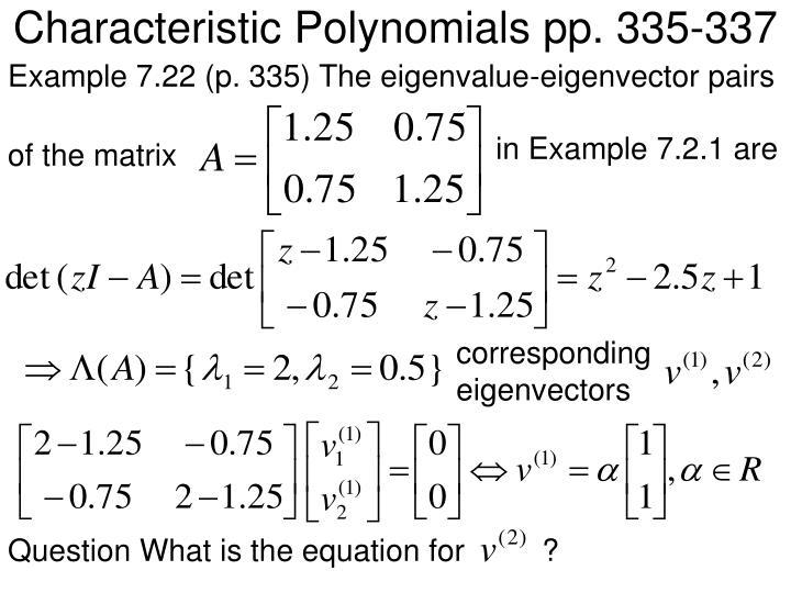 Characteristic Polynomials pp. 335-337