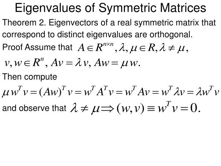 Eigenvalues of Symmetric Matrices
