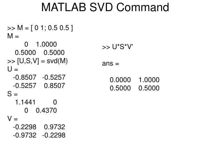 MATLAB SVD Command