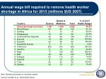 annual wage bill required to remove health worker shortage in africa for 2015 millions us 2007
