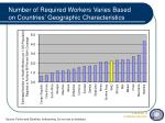 number of required workers varies based on countries geographic characteristics