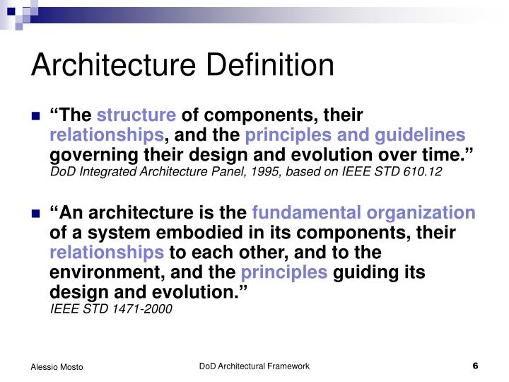 Ppt dod architecture framework overview powerpoint for Architecture definition
