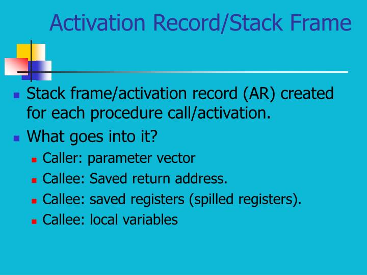 Activation Record/Stack Frame