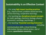 sustainability is an effective context