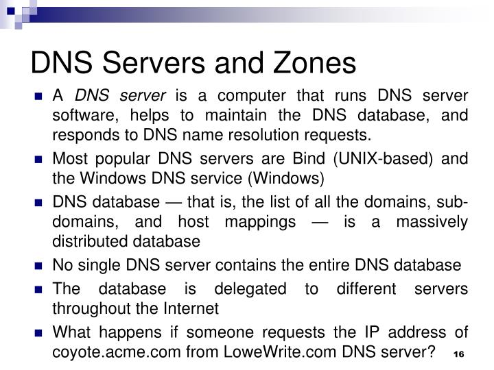 DNS Servers and Zones