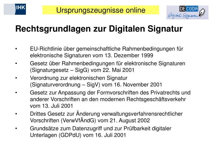 Rechtsgrundlagen zur Digitalen Signatur