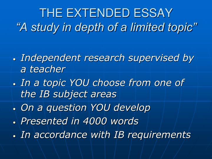 extended essay teacher comments Grading the extended essay assessment criteria.