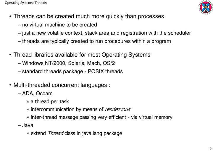 Operating Systems: Threads