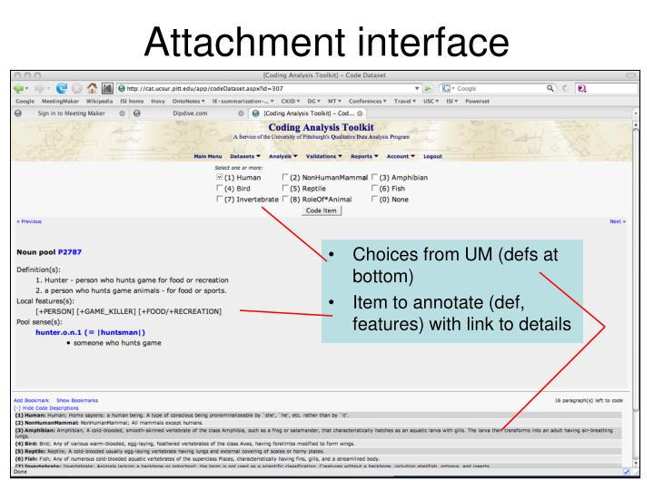 Attachment interface
