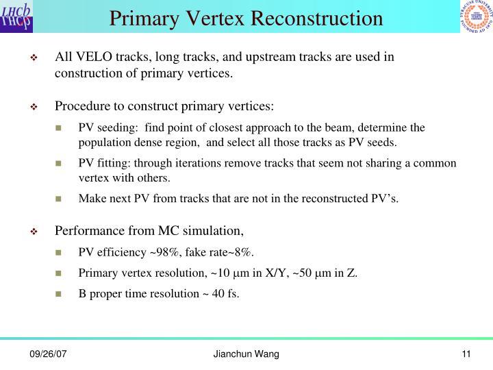 Primary Vertex Reconstruction