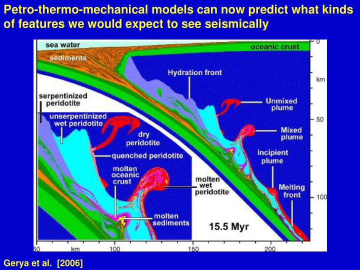 Petro-thermo-mechanical models can now predict what kinds of features we would expect to see seismically
