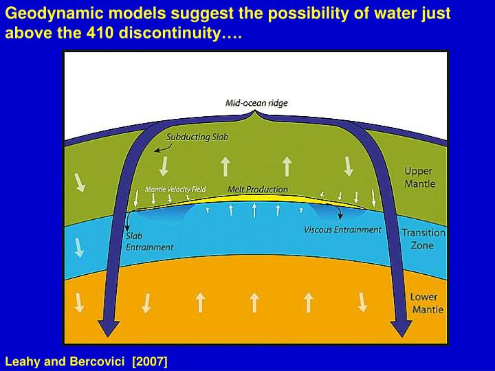 Geodynamic models suggest the possibility of water just above the 410 discontinuity….