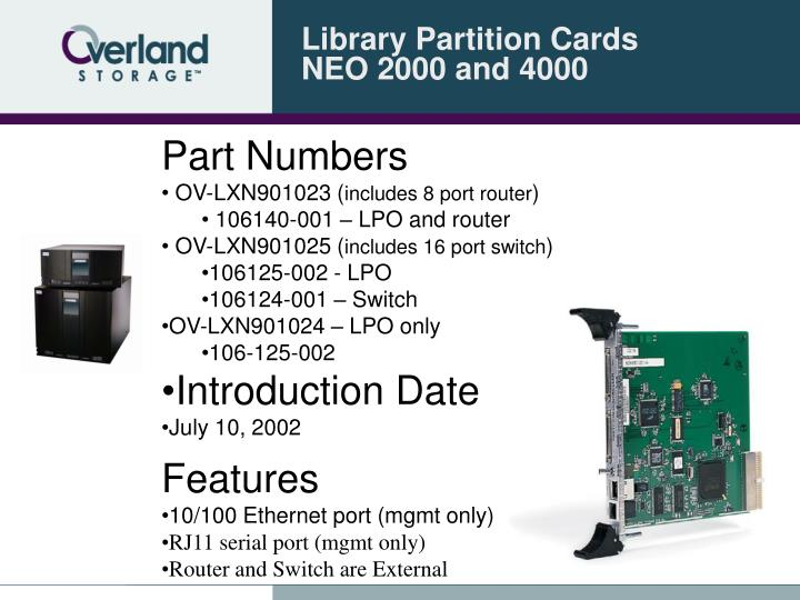 Library partition cards neo 2000 and 4000