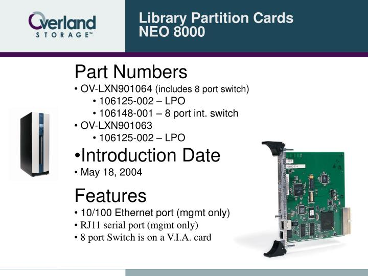Library partition cards neo 8000