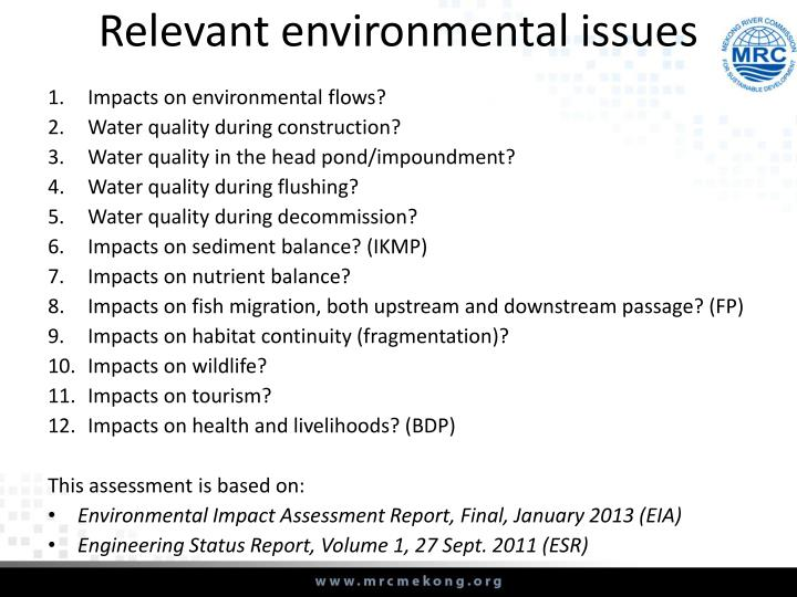 Relevant environmental issues
