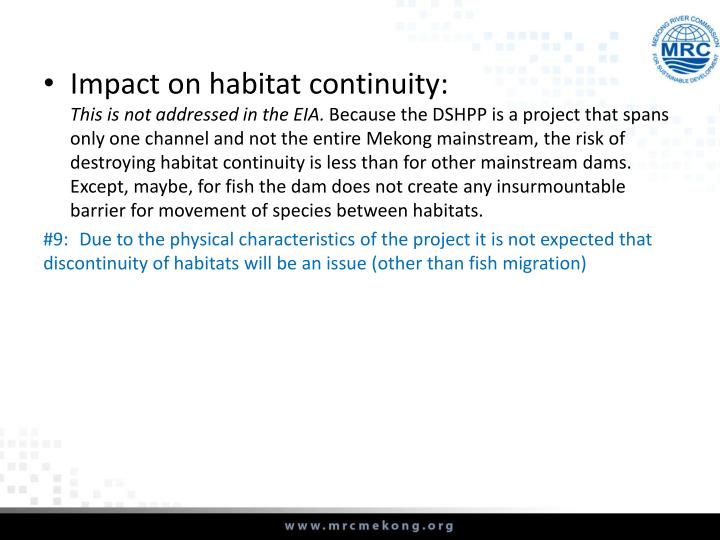 Impact on habitat continuity: