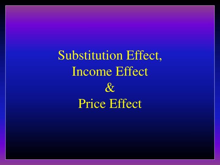 substitution effect income effect price effect n.
