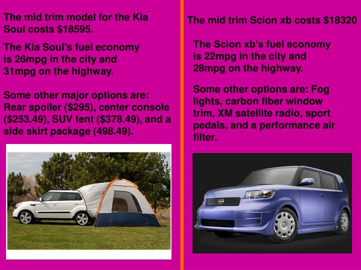 The mid trim model for the Kia Soul costs $18595.