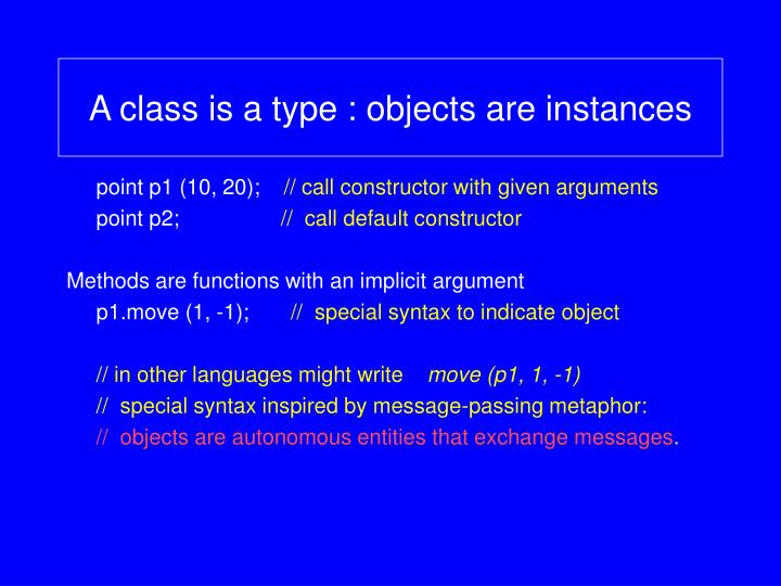 A class is a type objects are instances
