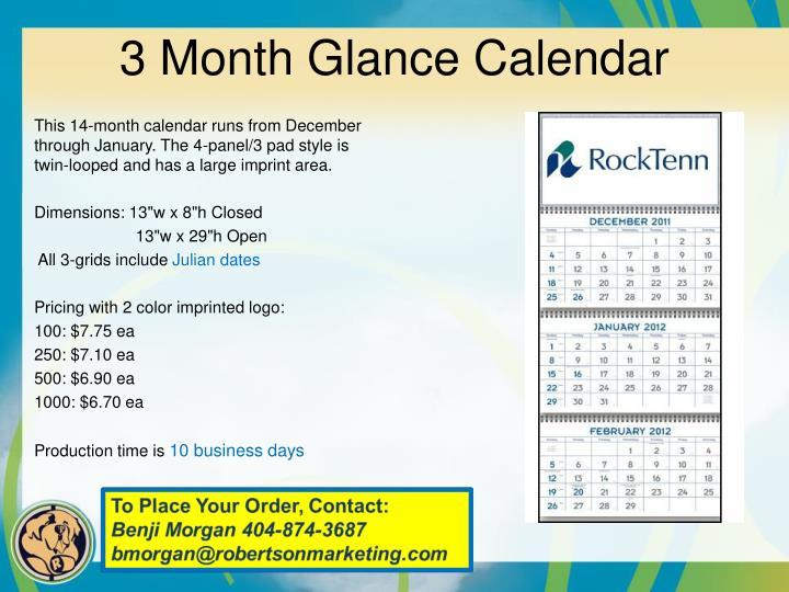 3 month glance calendar