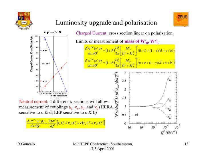 Luminosity upgrade and polarisation
