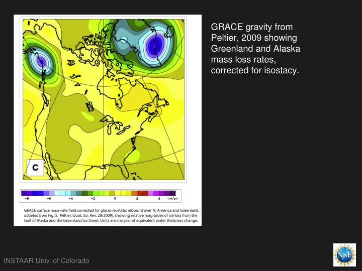 GRACE gravity from Peltier, 2009 showing Greenland and Alaska mass loss rates, corrected for isostacy.