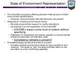 state of environment representation