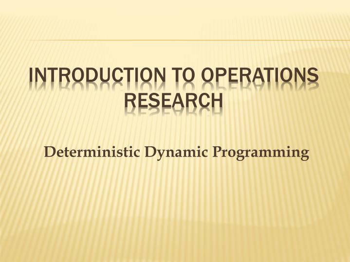 PPT - Introduction to Operations Research PowerPoint