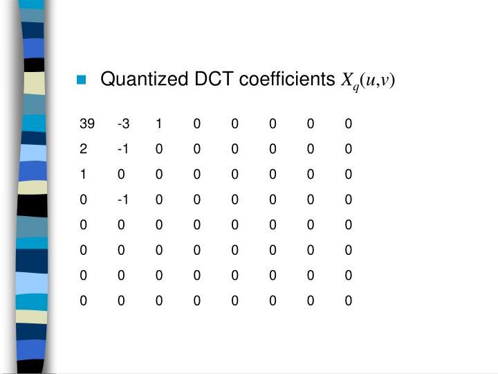 Quantized DCT coefficients