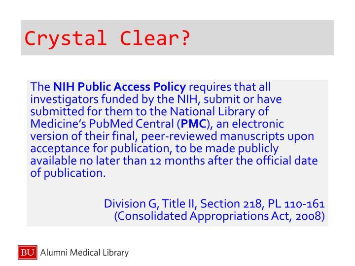 Crystal Clear?