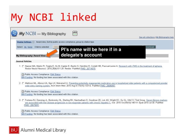My NCBI linked