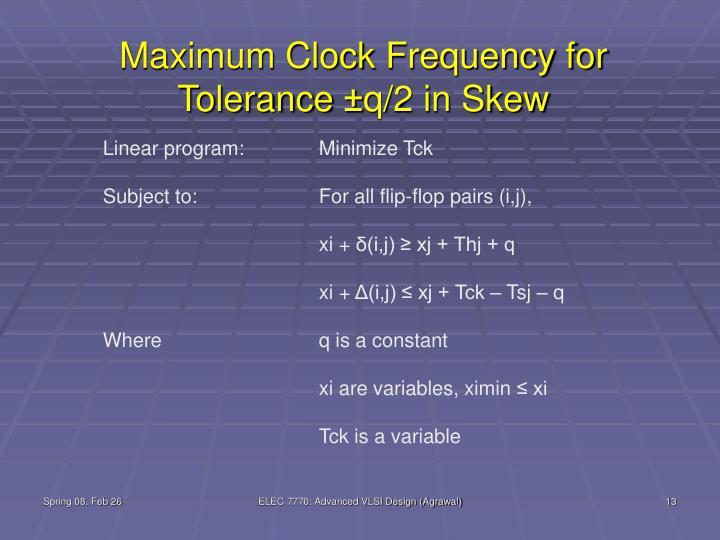 Maximum Clock Frequency for Tolerance