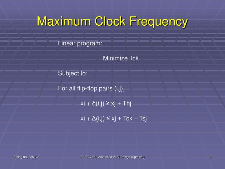 Maximum Clock Frequency