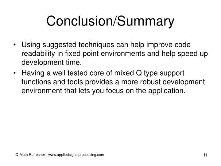 Conclusion/Summary