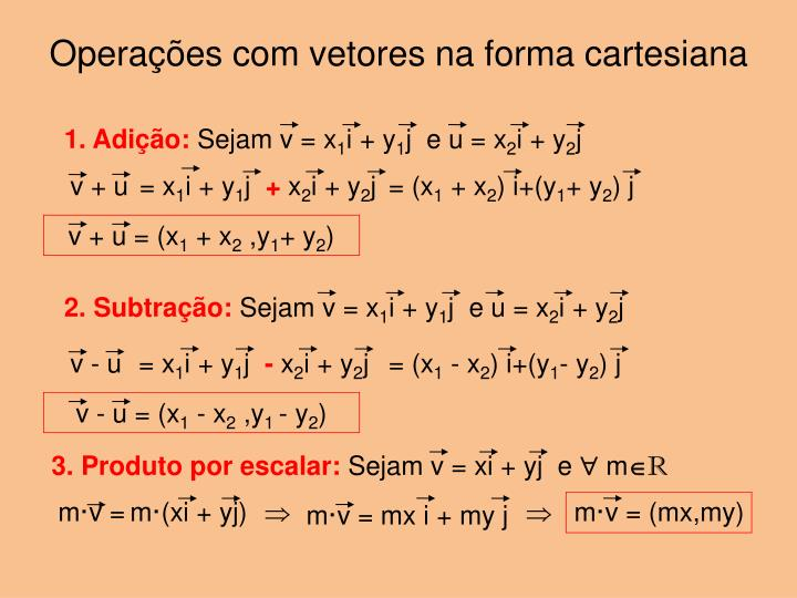 Operações com vetores na forma cartesiana