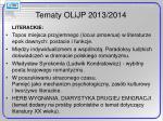tematy olijp 2013 2014