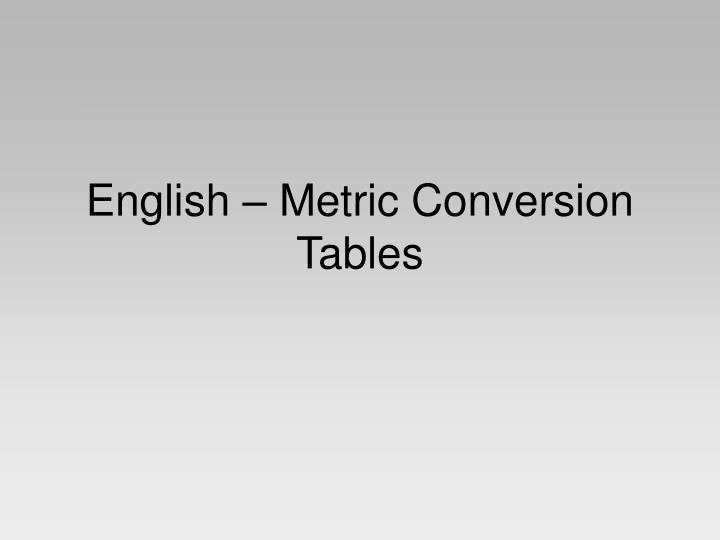 English Metric Conversion Tables