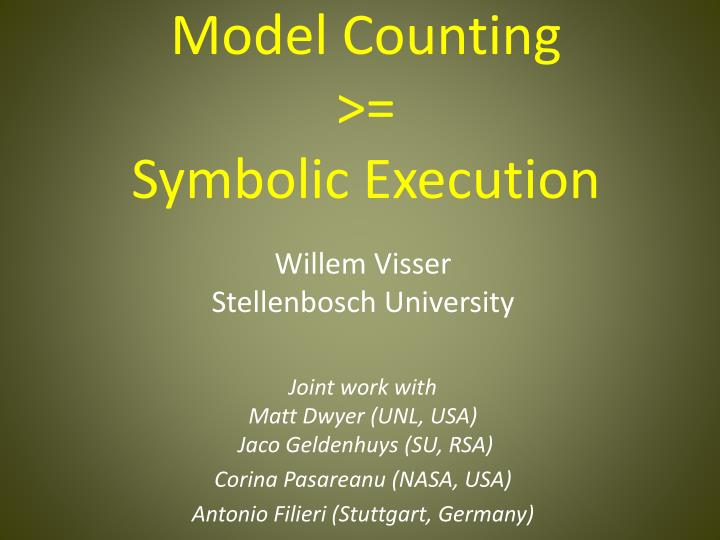 model counting symbolic execution n.