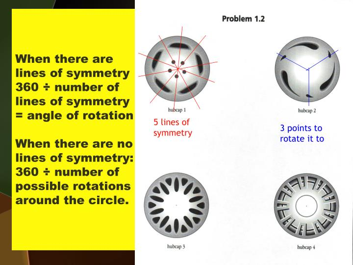 When there are lines of symmetry 360 ÷ number of lines of symmetry = angle of rotation