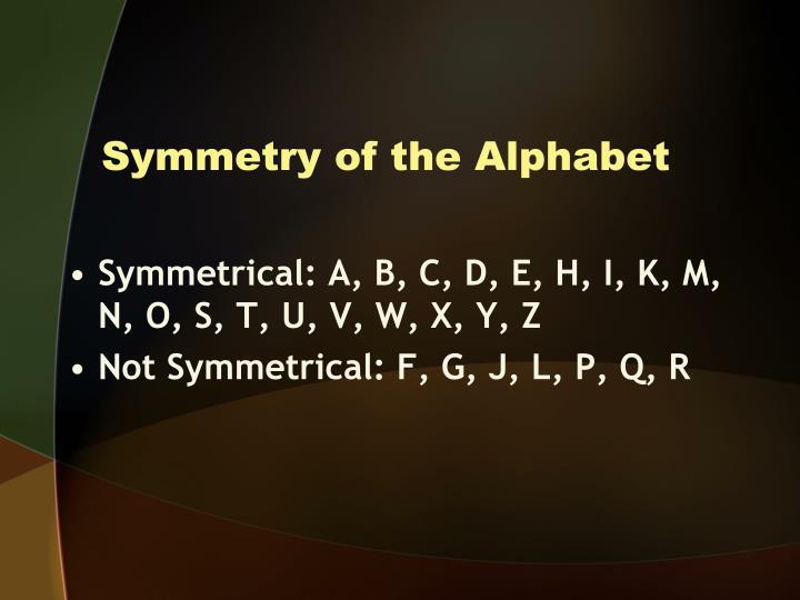 Symmetry of the Alphabet