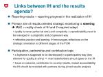 links between ih and the results agenda
