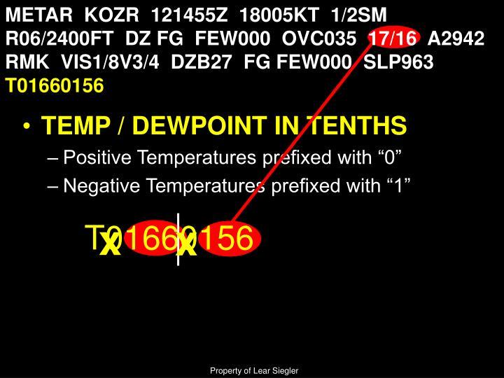 METAR  KOZR  121455Z  18005KT  1/2SM  R06/2400FT  DZ FG  FEW000  OVC035  17/16  A2942  RMK  VIS1/8V3/4  DZB27  FG FEW000  SLP963